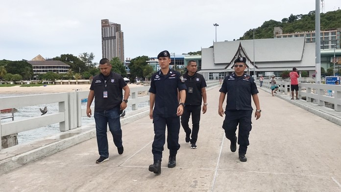 Pol. Lt. Col. Piyapong Eansan led tourist police on a security inspection of Bali Hai Pier in the wake of the recent bombings in Bangkok.