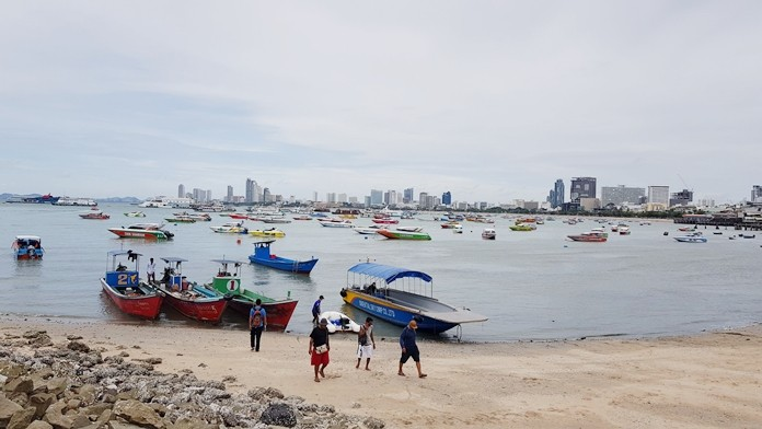 Pattaya bay was full over the weekend as small boat owners sought shelter from the effects of Tropical Storm Wipha.