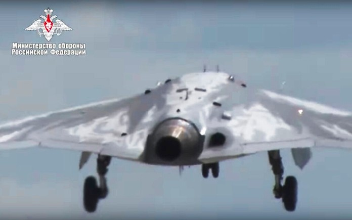 In this video grab made available on Wednesday, Aug. 7, 2019 by Russian Defense Ministry Press Service, Russia's military drone Okhotnik is seen taking off at an unidentified location in Russia. (Russian Defense Ministry Press Service via AP)