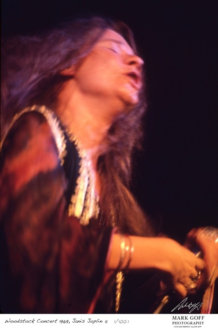 This August, 1969 photo shows Janis Joplin as she performs during Woodstock in Bethel, N.Y. Mark Goff Photography, Leah Demarco/Allison Goff via AP)