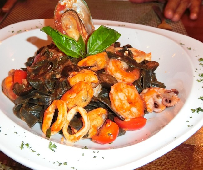 Home-made black tagliatelle with seafood. (Photos by Marisa Corness)