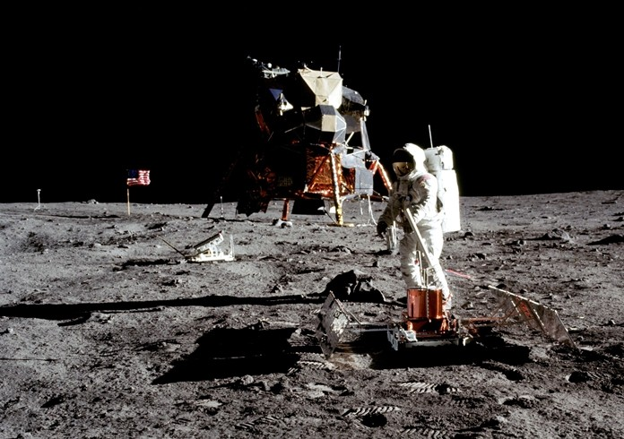Real or not? Apollo 11 astronaut Buzz Aldrin works on the deployed Passive Seismic Experiment Package on the surface of the Moon, July 20, 1969. (Source: www.nasa.gov.)