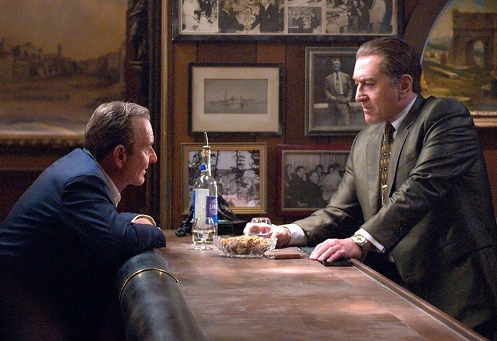 "Joe Pesci (left) and Robert De Niro are shown in a scene from ""The Irishman."" (Niko Tavernise/Netflix via AP)"
