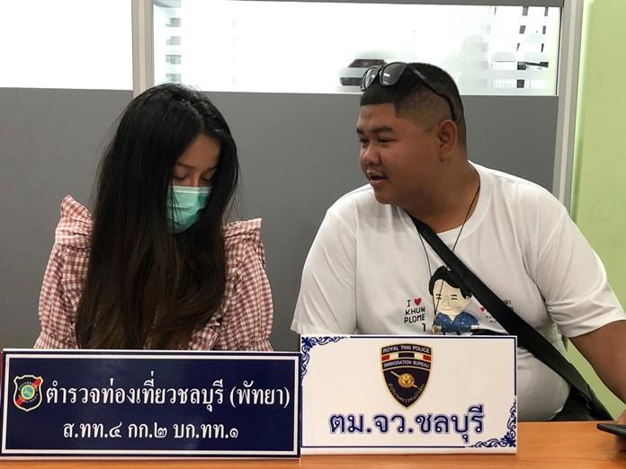 Pattaya Tourist Police interrogate Laotian Konkum or Kai Jantajon after his (her) arrest.