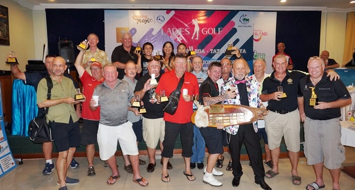 Mark Gorda organizer of the 21st Canadian Jackalope Open holds the main trophy as all the winners gather for a happy group photograph.
