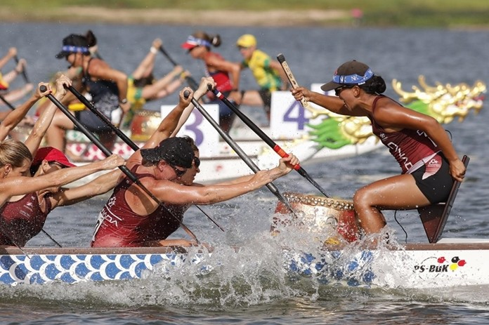 Teams compete in the 14th IDBF World Dragon Boat Race Championships at Mabprachan Reservoir in Pattaya.