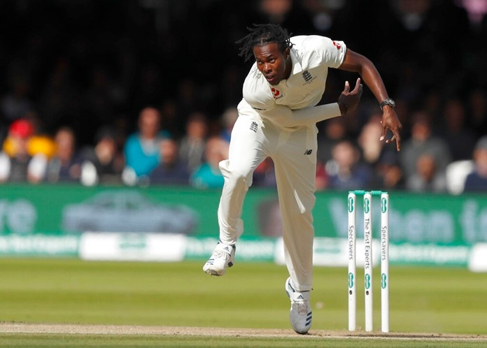 England's Jofra Archer bowls to Australia's Cameron Bancroft during play on day five of the 2nd Ashes Test cricket match between England and Australia at Lord's cricket ground in London, Sunday, Aug. 18, 2019. (AP Photo/Alastair Grant)