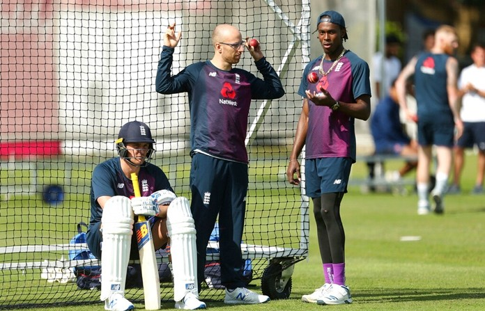 England players, from left, Jason Roy, Jack Leach and Jofra Archer during a nets session at Lord's in London, Tuesday Aug. 13, 2019. England will play Australia in their second Ashes Test match starting Aug. 14 at Lord's. (Steven Paston/PA via AP)