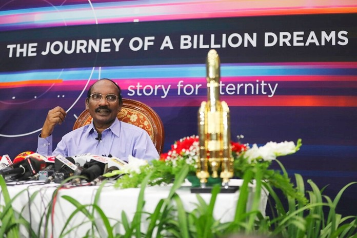 Indian Space Research Organization (ISRO) Chairman Kailasavadivoo Sivan speaks during a press conference at their headquarters in Bangalore, India, Tuesday, Aug. 20, 2019. (AP Photo/Aijaz Rahi)