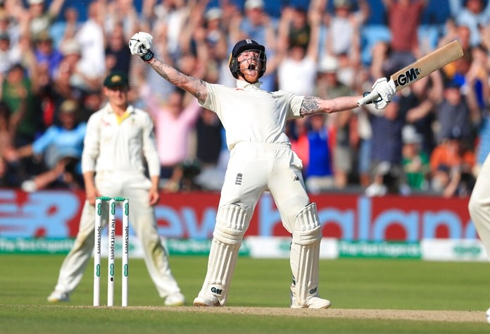 Ben Stokes celebrates after guiding England to victory on day four of the third Ashes cricket Test match against Australia at Headingley, Leeds, England, Sunday Aug. 25, 2019. (Mike Egerton/PA via AP)