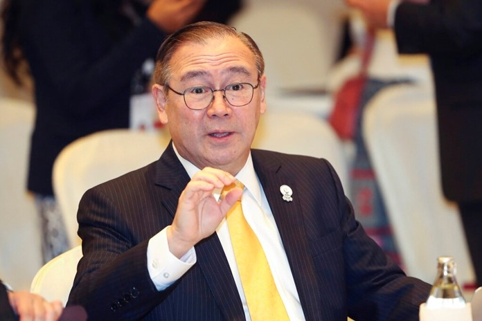 In this Aug. 1, 2019, file photo, Philippine Foreign Secretary Teodoro Locsin Jr. gestures during a foreign ministers' meeting of the Association of Southeast Asian Nations (ASEAN) in Bangkok, Thailand. (AP Photo/Sakchai Lalit)
