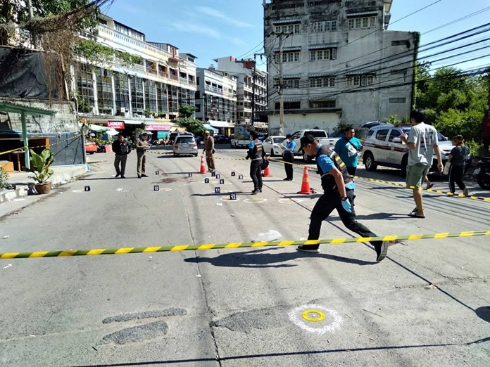 Police cordoned off the area and a subsequent sweep found 8 expired gun cartridges, 2 bullets and large pools of blood on the ground. Officers also checked the store's CCTV and questioned witnesses.