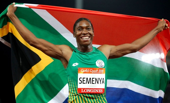 In this April 13, 2018, file photo, South Africa's Caster Semenya celebrates after winning the woman's 800m final at the 2018 Commonwealth Games on the Gold Coast, Australia. (AP Photo/Mark Schiefelbein)