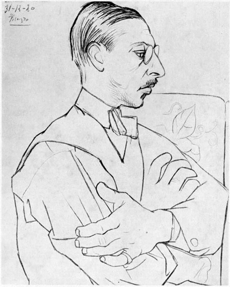 Stravinsky drawn by Picasso in 1920.