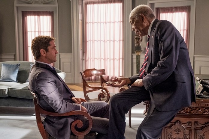 "This image shows Gerard Butler (left) and Morgan Freeman in a scene from the film ""Angel Has Fallen"". (Jack English/Lionsgate via AP)"