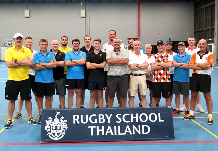 Rugby School Thailand and Pattaya Cricket Club players pose for a Sept. 12 group photo.