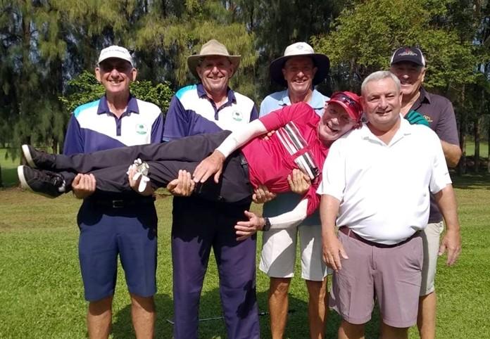 Birthday boy Bob Poole gets a lift from Pete Skinner, Paul Hubbard, Martin Grimoldby, Kevin Blake and Dave Boran.