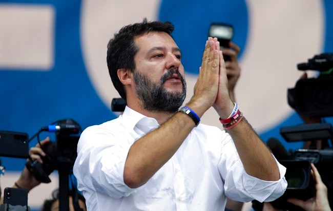 Leader of The League party, Matteo Salvini, speaks at a party rally in Pontida, northern Italy, Sunday, Sept. 15, 2019. (AP Photo/Luca Bruno)