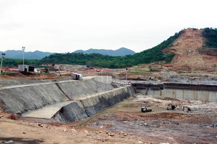 In this June 28, 2013 file photo, construction work takes place, at the site of the Grand Ethiopian Renaissance Dam near Assosa, Ethiopia. (AP Photo/Elias Asmare)