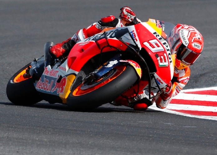 Race winner Spain's Marc Marquez steers his motorbike during the San Marino Motorcycle Grand Prix at the Misano circuit in Misano Adriatico, Italy, Sunday, Sept. 15, 2019. (AP Photo/Antonio Calanni)