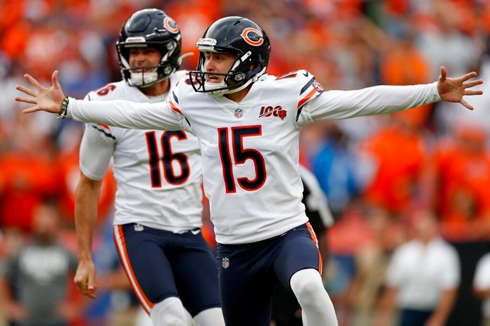 Chicago Bears kicker Eddy Pineiro (15) celebrates his game-winning field goal after an NFL football game against the Denver Broncos, Sunday, Sept. 15, 2019, in Denver. The Bears won 16-14. (AP Photo/David Zalubowski)