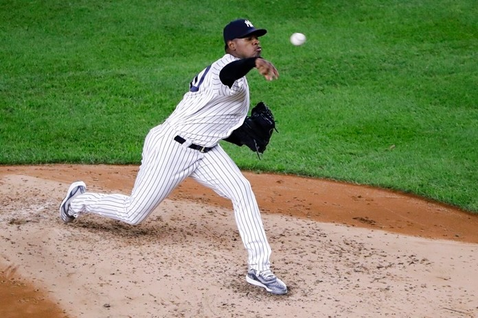 New York Yankees' Luis Serverino delivers a pitch during the third inning of a baseball game against the Los Angeles Angels Tuesday, Sept. 17, 2019, in New York. (AP Photo/Frank Franklin II)