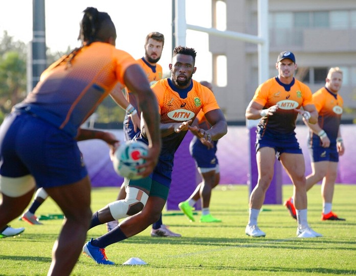 The South African rugby squad trains in Urayasu, near Tokyo Tuesday, Sept. 17, 2019, ahead of a Rugby World Cup match against New Zealand. (Takumi Sato/Kyodo News via AP)