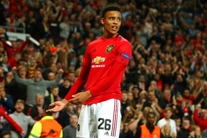 Manchester United's Mason Greenwood celebrates scoring his side's winning goal during the Europa League Group L soccer match against Astana at Old Trafford stadium in Manchester, England Thursday, Sept. 19, 2019. (AP Photo/Dave Thompson)