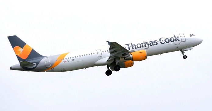 In this May 19, 2016 file photo, a Thomas Cook plane takes off in England. (Tim Goode/PA via AP)