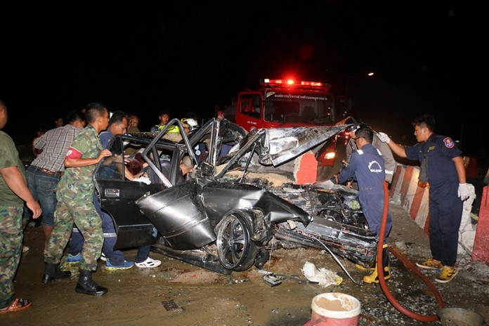 A Plutaluang man in a hurry to get around road construction received multiple injuries when he ran his car headlong into a concrete barrier while trying to pass a slower car.