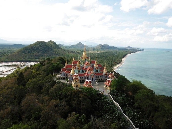 Wat Tang Sai, a Buddhist temple perched atop Thong Chai Mountain in Ban Krut in Prachuap Khiri Khan. (AP Photo/Nicole Evatt)