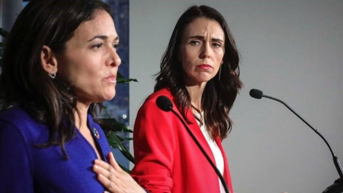 New Zealand Prime Minister Jacinda Ardern (right) and Facebook chief operating officer Sheryl Sandberg (left) at the United Nations General Assembly held a news conference outlining progress on the Christchurch Call commitments. (AP Photo)