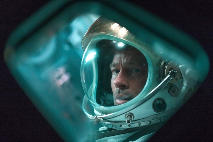 "This image shows Brad Pitt in a scene from the film ""Ad Astra"". (Francois Duhamel/20th Century Fox via AP)"