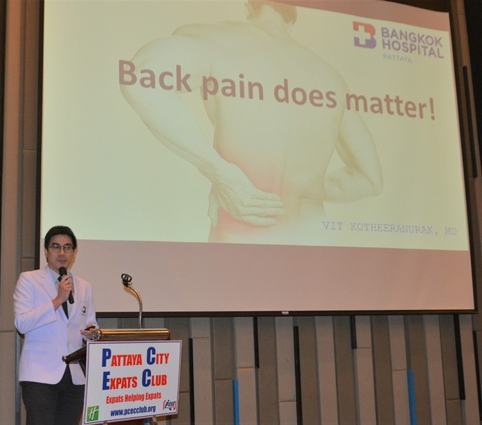 Dr. Vit Kotheenranurak from Bangkok Hospital Pattaya's Orthopedic Center explains to his PCEC audience why back pain does matter and what you can do about it with proper diagnosis and treatment.