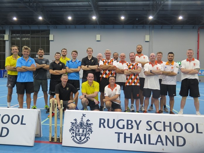 Players from Pattaya Cricket Club and Rugby School Thailand pose for a group photo.