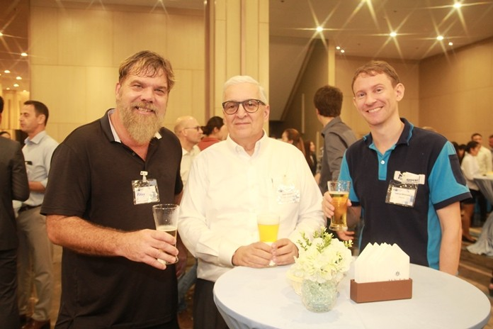 David Nardone (centre) poses for a photo with two Eastern Seaboard businessmen.