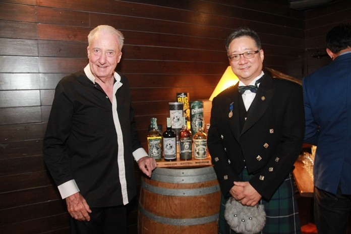 Dr. Iain Corness chats with Paul Wang, Asia Regional Sales Manager for Douglas Laing.