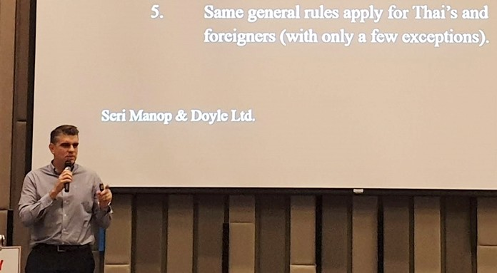 Mike Doyle, with the Bangkok law firm of Seri Manop & Doyle, uses actual cases to advise PCEC members on how to avoid legal catastrophes in Thailand.