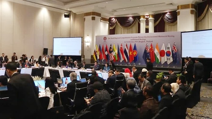 Deputy Prime Minister/Commerce Minister Jurin Laksanawisit yesterday chaired the ninth Regional Comprehensive Economic Partnership (RCEP) meeting at The Athenee Hotel in Bangkok with 10 ASEAN member states and six trade partner countries attending.