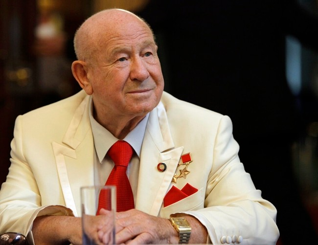In this Tuesday, July 20, 2010 file photo, former Russian cosmonaut Alexei Leonov speaks to the media before a reception at the U.S. Ambassador's Spaso House residence in Moscow, Russia. Russia's space agency says Alexei Leonov, the first human to walk in space 54 years ago, has died in Moscow. He was 85. Roscosmos says in a statement on its website that Leonov died on Friday, Oct. 11, 2019. (AP Photo/Alexander Zemlianichenko, File)