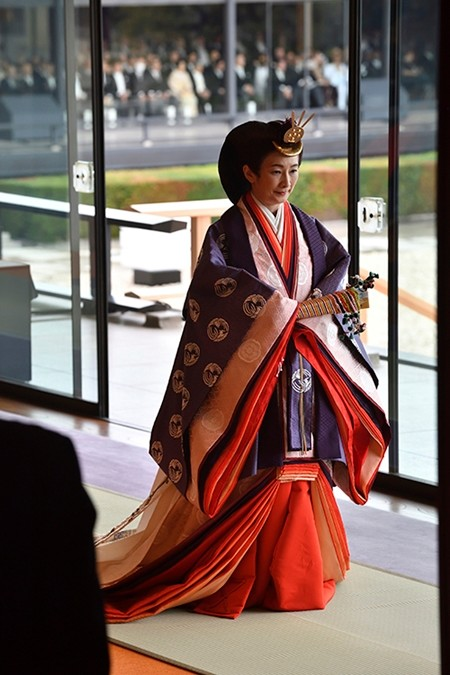 Japan's Crown Princess Kiko leaves at the end of the enthronement ceremony. (Kazuhiro Nogi/Pool Photo via AP)