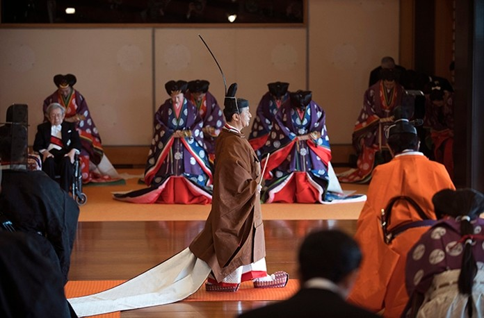 Japan's Emperor Naruhito, center, leaves at the end of the enthronement ceremony. (Kazuhiro Nogi/Pool Photo via AP)