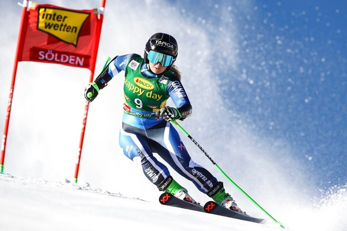 New Zealand's Alice Robinson competes during an alpine ski, women's World Cup giant slalom in Soelden, Austria, Saturday, Oct. 26, 2019. The New Zealand teenager edged Olympic champion Mikaela Shiffrin to win the traditional World Cup season-opener on the Rettenbach glacier. (AP Photo/Marco Trovati)
