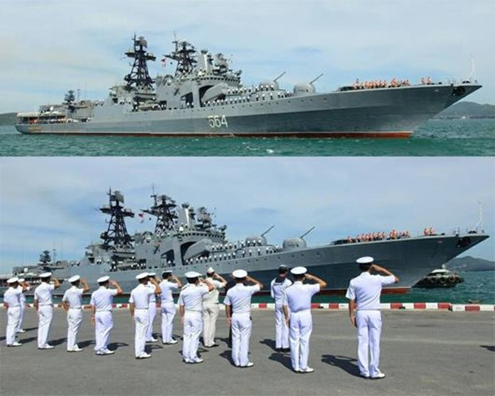 The Vartag cruiser, Admiral Panteleyev guided missile destroyer, and Pechenga replenishment tanker have docked at Sattahip Naval Base.
