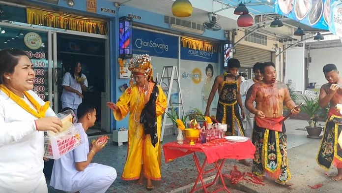 Pattaya's version of the Chinese Taoist procession in which devotees purify themselves in public displays of self-mutilation traveled along Nernplabwan Road on Tuesday, Oct. 1.