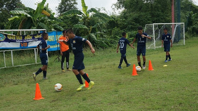 Youths participating in the selection process show off their abilities in basic football skills, dribbling, possession, shooting, goal keeping, and playing fast.