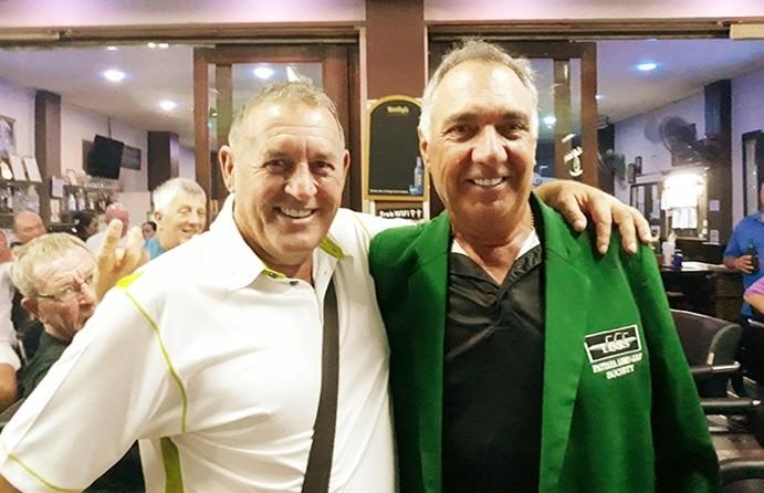 Winner B flight, Wayne Peppernell, with Phil Davies presenting.