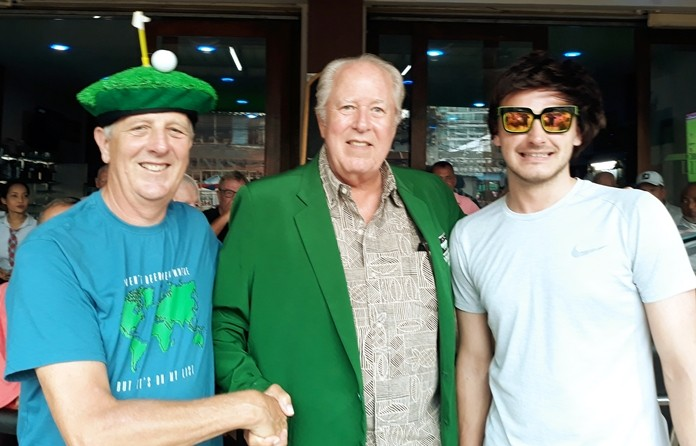Silky Oak winner B flight, Tip Briney, with Tony Browne (L) and Paul McManus (R).