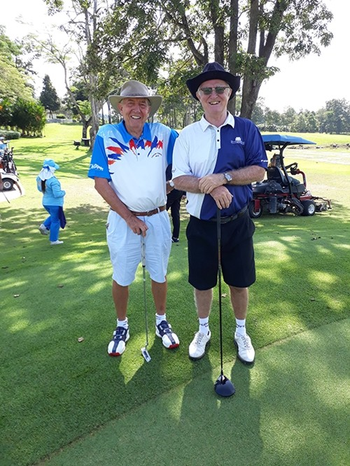 Eddie Beilby and Tony Oakes are ready to tee off.