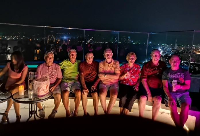 Last week's Jomtien Golf winners celebrating with cocktails on the 38th floor at the Dvaree in Jomtien on Saturday evening.